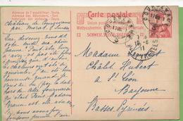 Suisse 10c Helvetia Entier CP De Courgevaux à Bayonne 17/08/11 - Ganzsachen