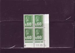 N° 1814 - 0,60F BEQUET  - F De E+F 1° Partie Du Tirage Du 18.9.74 Au 23.10.74 - 15.10.1974 -  - 1PHO à Droite - - Dated Corners