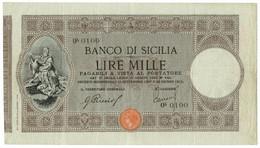1000 LIRE BANCO DI SICILIA - BIGLIETTO AL PORTATORE 22/06/1915 BB - Altri
