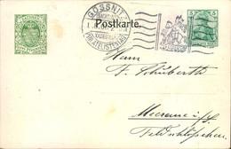 """1908,Privatganzsache 5 Pfg. Germania """"XX. DEUTSCHER PHILATELISTENTAG"""", SSt GÖSSNITZ - PP 23 C 9 - Enteros Postales"""