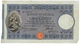 100 LIRE BANCO DI SICILIA - BIGLIETTO AL PORTATORE - PRIMA DATA 30/12/1896 PRIMA DATA MB/BB - Altri