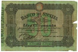 50 LIRE BANCO DI SICILIA BIGLIETTO AL PORTATORE 11/04/1879 MB+ - Altri