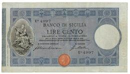 100 LIRE BANCO DI SICILIA - BIGLIETTO AL PORTATORE 27/12/1909 QBB - Altri