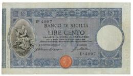 100 LIRE BANCO DI SICILIA - BIGLIETTO AL PORTATORE 27/12/1909 DATA RARA QBB - Altri