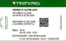 B 2597 -  92° Adunata Alpini  Milano, Biglietto Trenord - Ferrovie
