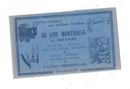 Buvard Publicitaire AU RIRE MONTOIRIEN, LECOMTE à MONTOIRE, Landau, Ours En Peluche, - Papel Secante