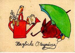 Herzliche Ostergrüsse Ca 1950 - Handgemalt Hase Regenschirm Vögel Und Gießkanne - Ostern