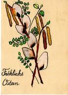 Fröhliche Ostern - Osterstrauss Handbemalt Ca 1950 - Ostern