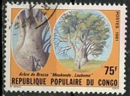 Congo - Kongo 1981 Y&T N°648 - Michel N°(?) (o) - 75f Arbre De Brazza - Used