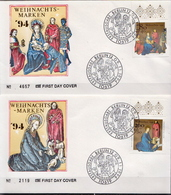 Germany Pair On 2 FDCs From 1994 - Christmas