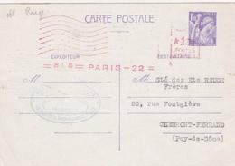 CARTE. ENTIER IRIS 1,20Fr. 26 1 46. PARIS POUR CLERMONT. AVEC COMPLEMENT 1,30 EMA ROUGE PARIS 22 - Buste Postali E Su Commissione Privata TSC (ante 1995)