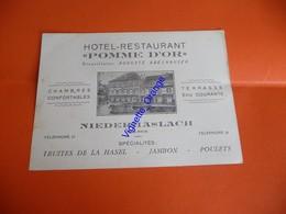 Publicité Carte Visite 1939 HOTEL RESTAURANT POMME D OR BAS RHIN NIEDERHASLACH  ( Truites Hasel  Jambon Poulets - Cartes De Visite
