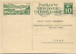 "III - 22 - Entier Postal Avec Illustration ""Spiez"" Oblit Mécanique 1927 - Interi Postali"