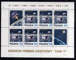 POLONIA POLAND POLSKA  1971 SPACE LUNA 17 MOON BLOCK SHEET BLOCCO FOGLIETTO BLOC FEUILLET USED USATO OBLITERE' - Blocchi E Foglietti