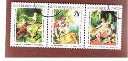 CONGO (BRAZZAVILLE) - MI 222.224 -  1970  BAROQUE PAINTINGS (COMPLET SET OF 3 SE-TENANT) - USED ° - Congo - Brazzaville