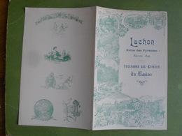 PROGRAMME DES CONCERTS A GRAND ORCHESTRE DE LUCHON MERCREDI 30 AOUT 1899 BON ETAT - Programmes