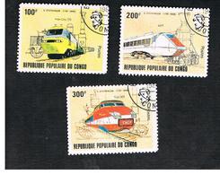 CONGO (BRAZZAVILLE) - SG 846.849 -  1982 G. STEPHENSON ANNIVERSARY: TRAINS  - USED ° - Congo - Brazzaville