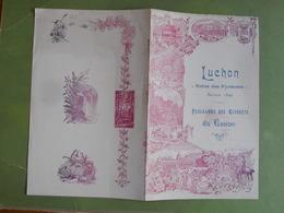 PROGRAMME DES CONCERTS A GRAND ORCHESTRE DE LUCHON JEUDI 31 AOUT 1899 BON ETAT - Programmes