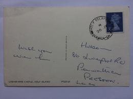 MACHIN Postcard With Single Ring Holy Island Berwick Postmark - Brieven En Documenten