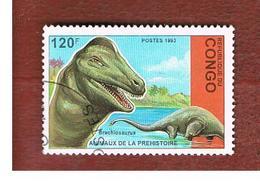 CONGO (BRAZZAVILLE) - MI 1400  -  1993 PREHISTORIC  ANIMALS: BRACHIOSAURUS    - USED ° - Congo - Brazzaville