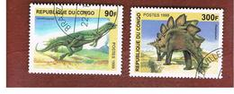 CONGO (BRAZZAVILLE) - MI 1670.1673  -  1999 PREHISTORIC  ANIMALS  - USED ° - Congo - Brazzaville