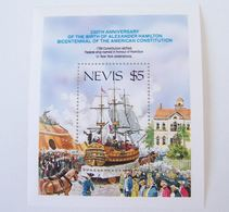 NEVIS 1987 MNH ** BOAT SHIP BATEAUX BARCO USA INDEPENDENCE AMERICAN CONSTITUTION HORSE - St.Kitts En Nevis ( 1983-...)