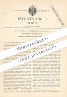Original Patent - F. C. Lund , Kolding , Dänemark , 1883 , Vliesteiler Für Vorspinnkrempeln   Spinnen , Spinnmaschine - Historische Dokumente