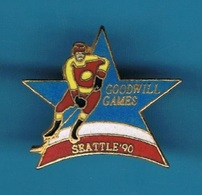 1 PIN'S  //  ** HOCKEY SUR GLACE / GOODWILL GAMES / SEATTLE '90 ** . (© & TM SOC) - Sports D'hiver