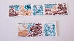 GABON GABONAISE 1976 MNH ** BICENTENNIAL USA BICENTENARY BICENTENAIRE INDEPENDENCE MILITARY WAR SOLDIERS HORSE BOAT - Gabon (1960-...)