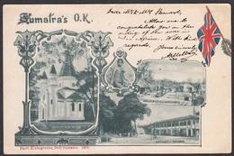 Gruss Aus SUMATRA, O.K..Church, Railway Station & Hotel, Phot Kleingrothe, Deli 1900 - Indonesia