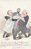 """CPA  Peinte à La Main Caricature Satirique Politique COMBES / ROCHETTE """"Petit Journal"""" Illustrateurr BOBB - People"""