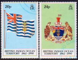 British Indian Ocean Territory 1990 SG 108-09 Compl.set Used 25th Anniv Of BIOT - British Indian Ocean Territory (BIOT)
