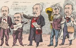 """CPA Caricature Satirique Politique COMBES """"Le Départ""""   PELLETAN / ROUVIER / Illustrateur T. BIANCO - Personnages"""