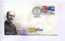 ROTARY - 100 AÑOS, PAUL HARRIS FUNDADOR DEL ROTARY. CHILE 2005 ENVELOPE FDC - LILHU - Rotary, Club Leones