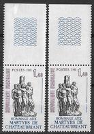 France 1981 - Variété - Martyrs De Châteaubriant Gomme Tropicale Y&T N° 2177 ** Neufs Luxe TB. - Varietà: 1980-89 Nuovi