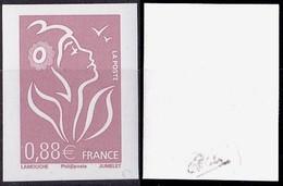 VARIETE N°4155 MARIANNE DE LAMOUCHE  0,88 LILAS-BRUN NON DENTELE SANS PHOSPHORE TOTAL  SIGNE CALVES LUXE** - Errors & Oddities