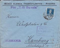 Argentina BANCO ALEMÁN TRANSATLANTÍCO. ROSARIO 1925 Cover Letra HAMBURG Schiffspost Por 'T. Di Savoia' - Argentinien