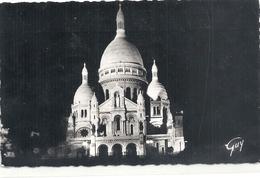 Cpsm Format Cpa. PARIS ET SES MERVEILLES . VUE DE NUIT SUR LA BASILIQUE DU SACRE-COEUR DE MONTMARTE . AFFR LE 26-12-1957 - Sacré Coeur