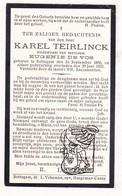 DP Karel Teirlinck ° Zottegem 1850 † 1925 X Eugenie De Vos Devos - Images Religieuses