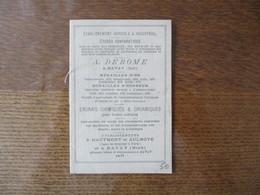 1877 A. DEROME A BAVAY ETABLISSEMENTS A HAUTMONT ET AULNOYE ENGRAIS CHIMIQUES ET ORGANIQUES 12 PAGES - Advertising