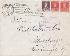 Argentina BICOCCA & WEIBEL, TMS Cds. ROSARIO 1925 HAMBURG Germany 3x San Martin Stamps - Argentinien