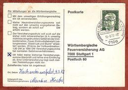 Karte, Heinemann, SoSt Neuenstadt, Nach Stuttgart 1972 (77458) - BRD