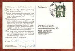 Karte, Heinemann, SoSt Laupheim, Nach Stuttgart 1972 (77461) - BRD