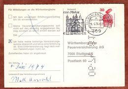 Karte, Unfallverhuetung, MS Ellwangen, Nach Stuttgart 1974 (77467) - BRD