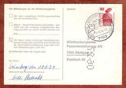 Karte, Unfallverhuetung, SoSt Weinsberg, Nach Stuttgart 1974 (77468) - BRD