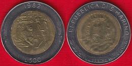"San Marino 500 Lire 1982 Km#140 ""Social Conquests, FAO"" BiMetallic UNC - San Marino"