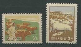 Korea-Nord 1959 Haustiere 191/92 Ungebraucht Ohne Gummi (R1808) - Korea (Nord-)