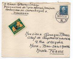 """Danemark-1947--Lettre De COPENHAGUE  Pour  METZ (France )--timbre--cachet-- Vignette """"JULEN 1936"""" (ange) - 1913-47 (Christian X)"""