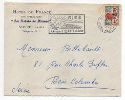 Lettre De NICE  Pour  BOIS-COLOMMBES-92 (France )-timbre Coq--cachet Flamme Nice-personnalisée Hôtel De France-SOSPEL-06 - Storia Postale