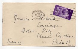 """U.K --1948--Lettre De FARNHAM (Suurey)   Pour  Hôtel RITZ--PARIS  (France )-timbre""""Olympics Games""""seul Sur Lettre-cachet - Brieven En Documenten"""
